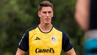Andrés Vombergar en un entrenamiento con el Atlético de San Luis