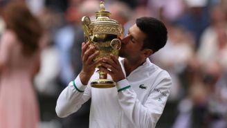 Novak Djokovic en festejo en Wimbledon