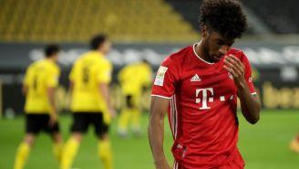 Kingsley Coman se lamenta en un juego del Bayern
