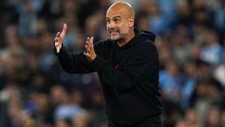 Pep Guardiola en el partido de Champions con el Manchester City