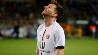 Messi reacciona durante partido con el PSG