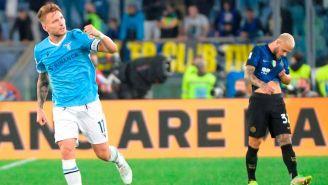 Ciro Immobile celebrando el gol ante el Inter