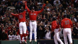Jugadores de Red Sox en festejo