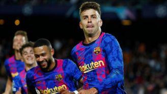 Gerard Piqué tras anotar gol a favor del Barcelona