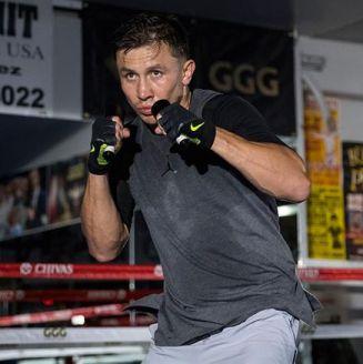 Golovkin en una sesión de entrenamiento para enfrentar a Canelo