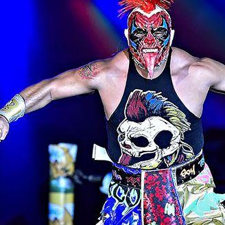 Psycho Clown previo a una función de Triple A