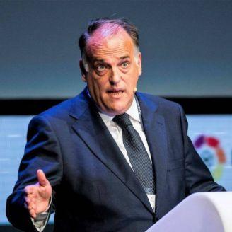 Javier Tebas, durante una conferencia de La Liga
