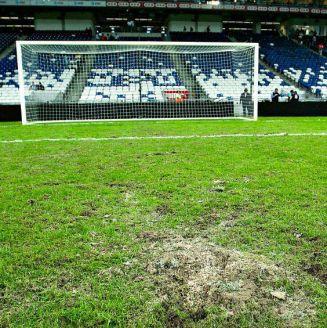 Zona de la cancha donde se tiraron los penaltis de Copa MX