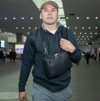 Pablo Aguilar en el Aeropuerto de la Ciudad de México