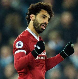 Mohamed Salah festeja un gol con el Liverpool