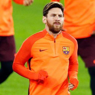 Messi, en un calentamiento con el Barcelona