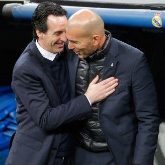 Unai Emery se saluda con Zidane en la Ida de Octavos