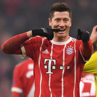 Lewandowski celebra un gol con el Bayern Munich