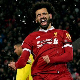 Mohamed Salah, celebrando uno de sus cuatro goles contra Watford