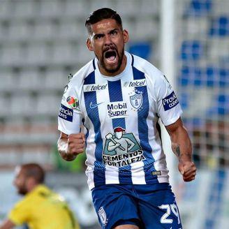 Franco Jara celebra un gol en el Clausura 2018