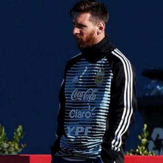 Messi en el entrenamiento de Argentina