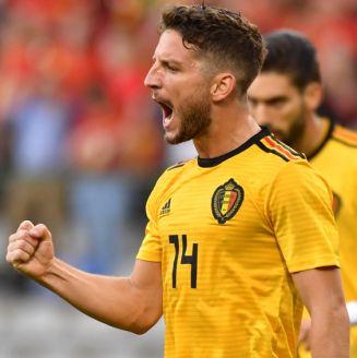 Mertens celebra un gol de Bélgica