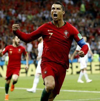 Cristiano Ronaldo festeja su gol contra España en Rusia 2018