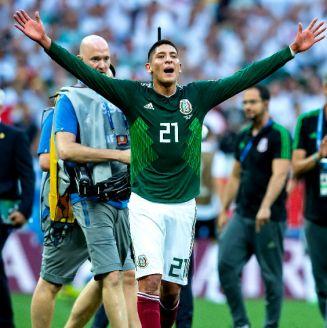 Edson Álvarez festeja triunfo del Tri frente a Alemania