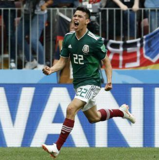 Hirving Lozano grita tras marcar gol a Alemania en Rusia 2018