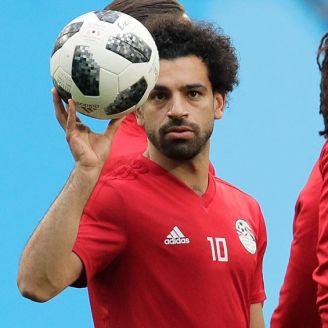 Mohamed Salah en un entrenamiento con Egipto