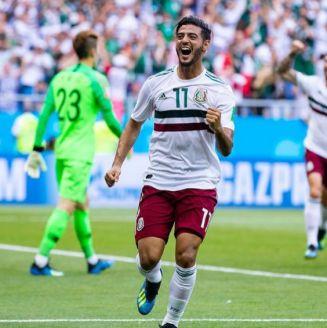 Carlos Vela festeja su gol frente a Corea del Sur en Rusia 2018