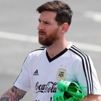 Messi, durante un entrenamiento con Argentina