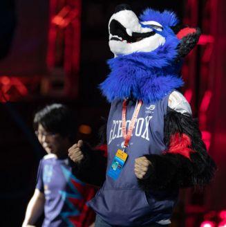 SonicFox celebra enfundado en su icónica botarga