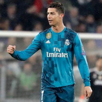 Cristiano celebra un gol con el Real Madrid en la Champions League