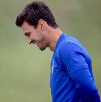 Alanís en los entrenamientos del Real Oviedo
