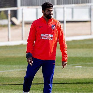 Diego Costa, durante entrenamiento de Atlético de Madrid