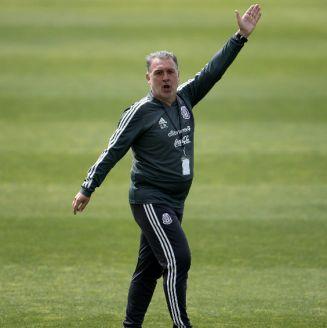 Gerardo Martino durante un entrenamiento con el Tricolor