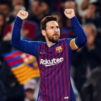 Messi celebra su gol contra el Manchester United