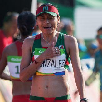 Lupita González, tras terminar la prueba de marcha en Río 2016