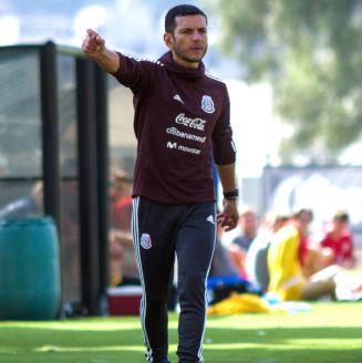 Jaime Lozano durante un encuentro ante Dinamarca