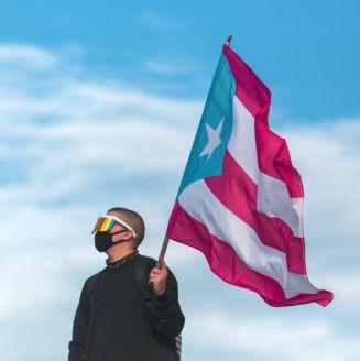 Bad Bunny durante la manifestación en Puerto Rico contra Ricardo Roselló
