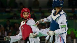 Itzel Manjarrez durante su combate por el bronce en Río 2016