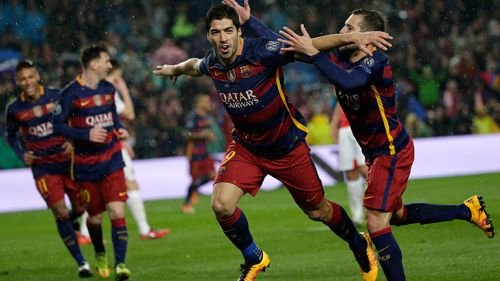 Luis Suárez festeja un gol en la Champions League