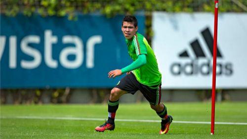 Hirving Lozano, durante un entrenamiento de la Selección Nacional Sub 23