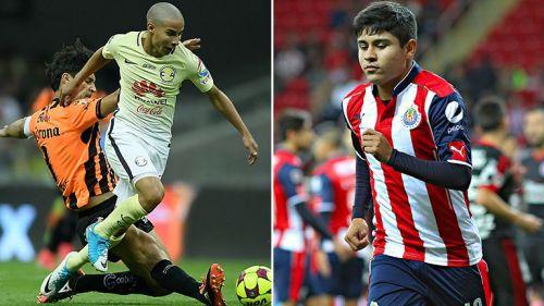Diego Lainez y Chofis en partido con sus respectivos equipos