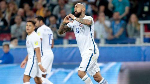 Vidal festeja su primero gol en la Copa Confederaciones de Rusia 2017