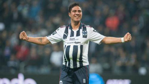 Jonathan Cristaldo celebra un gol con Rayados de Monterrey