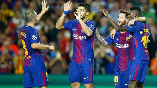 Messi festeja gol contra la Juventus