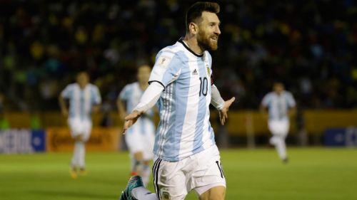 Messi celebra una anotación contra Ecuador