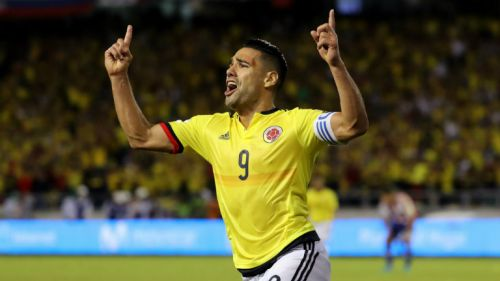 Falcao celebrando un gol en las Eliminatorias de Conmebol