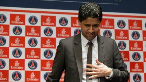 Nasser Al-Khelaifi, presidente del PSG, después de una conferencia de prensa