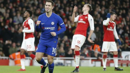 Eden Hazard celebra una anotación contra el Arsenal