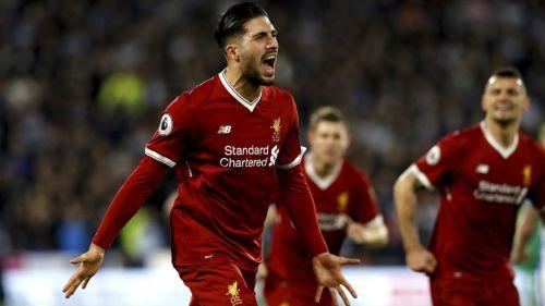 Emre Can celebra el primer gol de los Reds