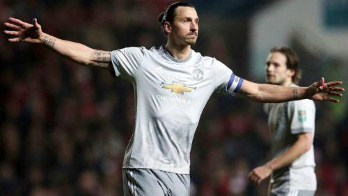 Zlatan celebra una anotación el Manchester United