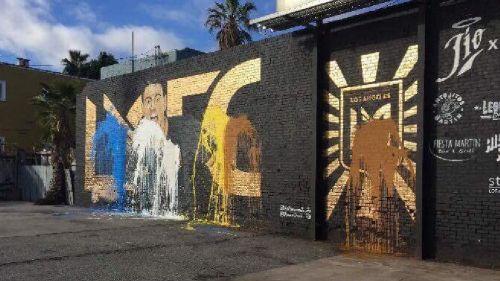 El mural de Vela vandalizado